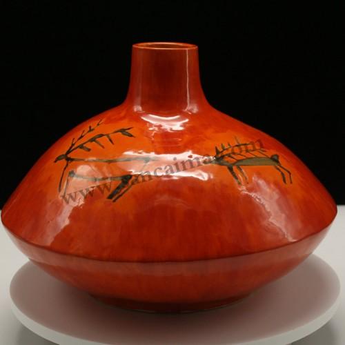 三彩陶罐枣红