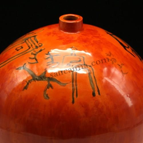 陶罐三彩细节