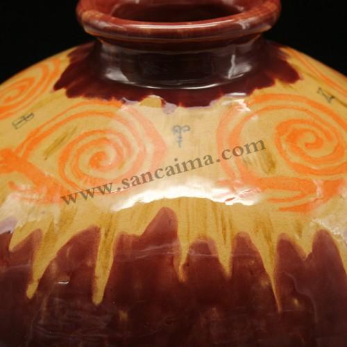 三彩陶罐细节