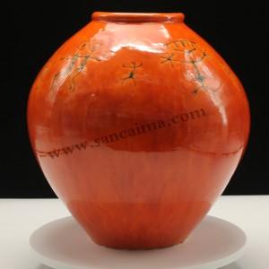 红釉酱红色唐三彩陶罐
