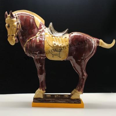 洛阳特色礼物棕红色黄马蹄唐三彩马