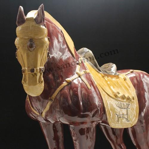 棕红色黄马蹄细节
