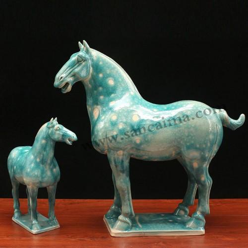 石灰岩浆深蓝三彩马