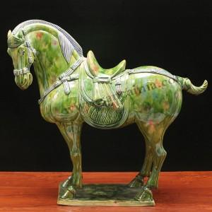 翡翠绿唐三彩中国马