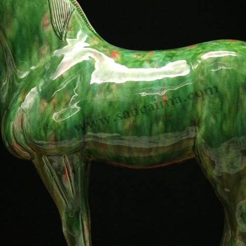 翡翠绿龙头马细节