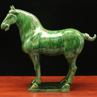 绿釉三彩翡翠绿龙头马