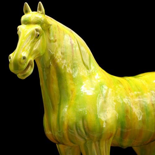 翠绿黄三彩马细节