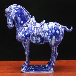 唐三彩瓷器-豹虎兰中国马