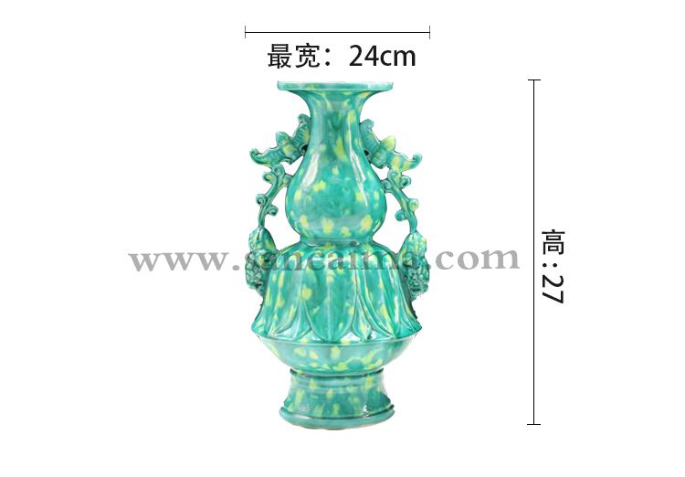 洛阳特色三彩工艺陶艺对瓶