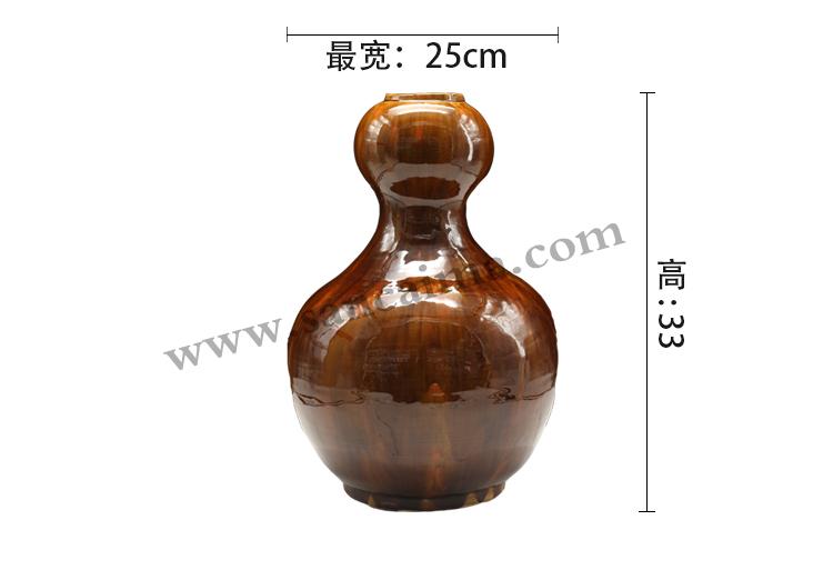 酱色三彩工艺陶罐