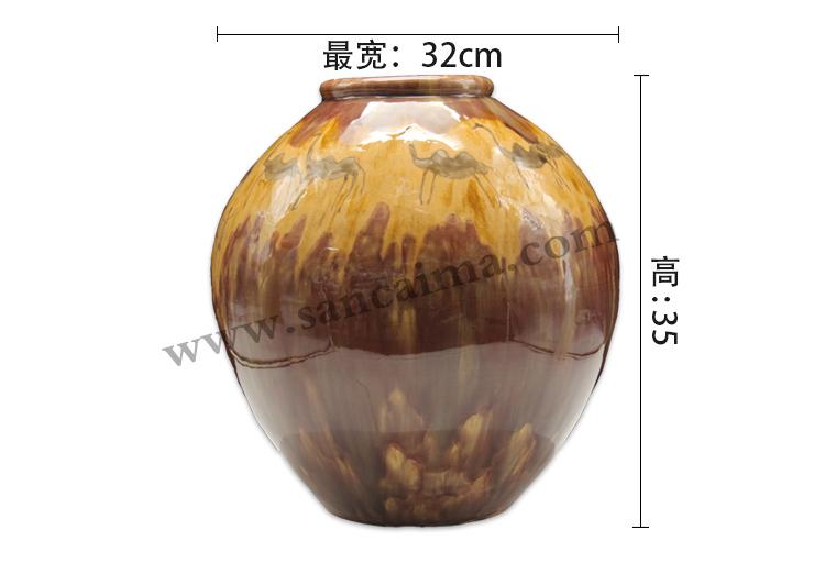 酱黄色洛阳唐三彩陶罐